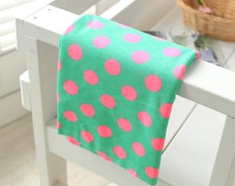 "Cotton Jersey Knit Fabric 1.30"" (3.3 cm) Polka Dot Green Mint"