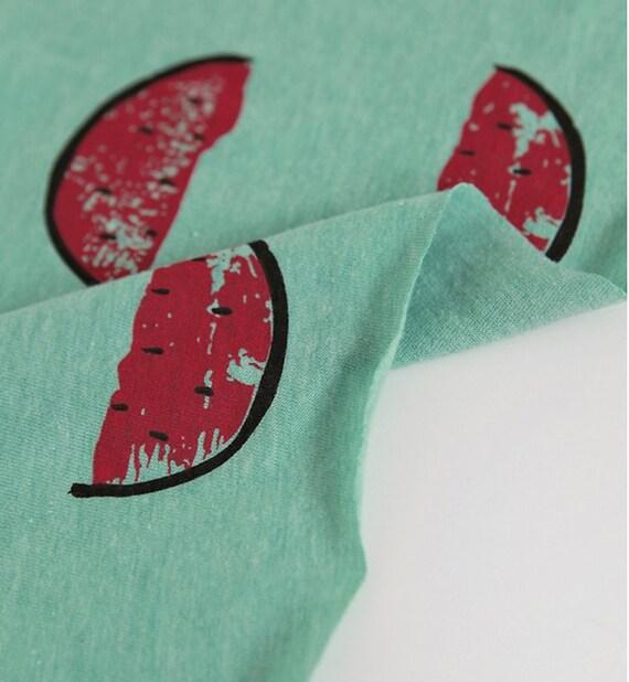 Mint Watermelon Pattern Cotton Knit Fabric by Yard