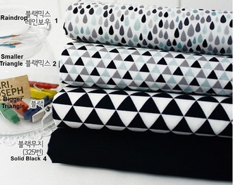 Cotton Fabric in 4 Patterns Black Gray Series By The Yard