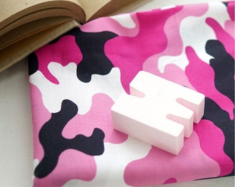 Cotton Fabric Pink Camouflage By The Yard