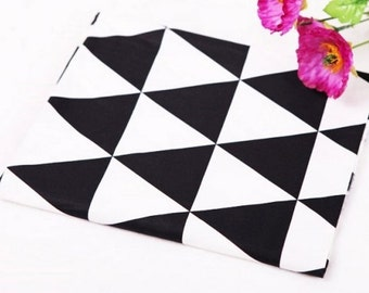 """Twill Cotton Fabric 2.75"""" (7 cm) Black & White Triangle By The Yard"""