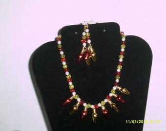 Christmas Light Necklace Earring Set