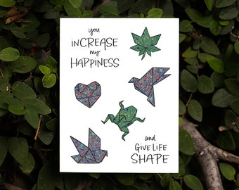 You inCREASE My Happiness Card | Kawaii Japanese Origami Cute Paper Animals Folding Love Friendship Love Origami Paper Japanese Patterns