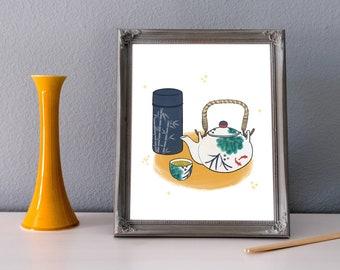 Tea and Comfort Art Print | Japanese Food, Tofu, Rice, Chawan Bowl, Chopsticks, Ocha, Edamame, Gohan