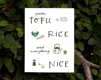 Tofu, Rice and Everything Nice Affirmation Card | Just-Because Card for Friendship Clever Card Cute Card Japanese Food Chopsticks Tofu Sushi