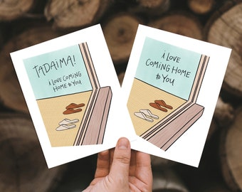 I Love Coming Home to You Card | Tadaima Kawaii Japanese Uwabaki Cute House Slippers Love Anniversary Tatami Floor Asian House Slippers