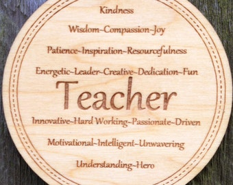 Personalized Teacher Ornament: End of Year Gift for Teacher/Teacher Retirement Keepsake/Engraved Wood Graduation Ornament