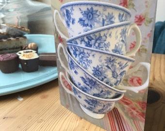 Tea cups blank greetings card