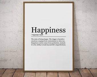 Happiness Print Definition Poster Wall Art Minimalist Print