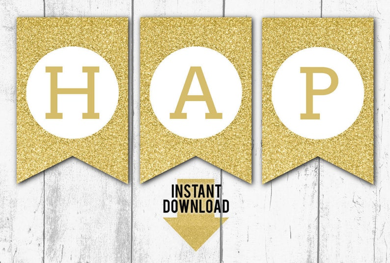 photo regarding Happy Birthday Printable Banner referred to as Gold GLITTER Satisfied BIRTHDAY Printable BANNER - Birthday Garland, Birthday Bunting, Pendant Bunting, Fast Obtain, Geared up in direction of Print (bb4)