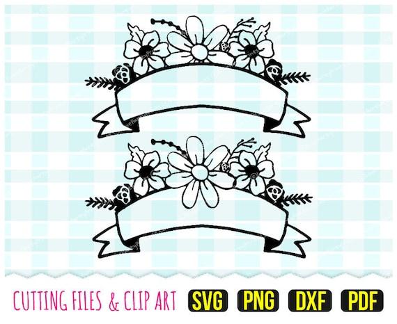 Ribbon Floral Banner Svg Dxf Png Pdf Flowers Svg Wedding Etsy