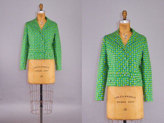 50s Blazer Vintage 1950s Green Cotton Jacket with