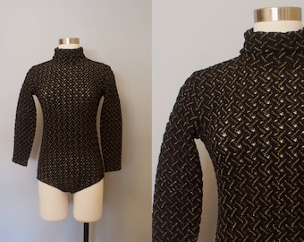 1970s Black and Gold Body Suit / 70s Bodysuit / Glam Body Suit