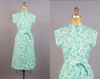 Vintage 60s Green White Floral Cotton Summer Day Dress 1960s Day Dress Mandarin Collar Womens Medium