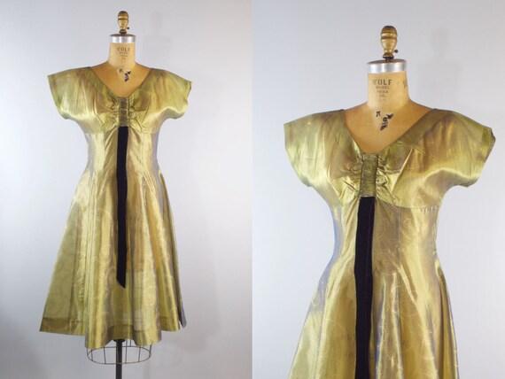 Vintage 50s Sheer Organza Dress Gold Party Dress M