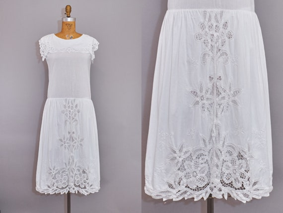 90s Dress White Cotton Lace Sleeveless Summer Dres