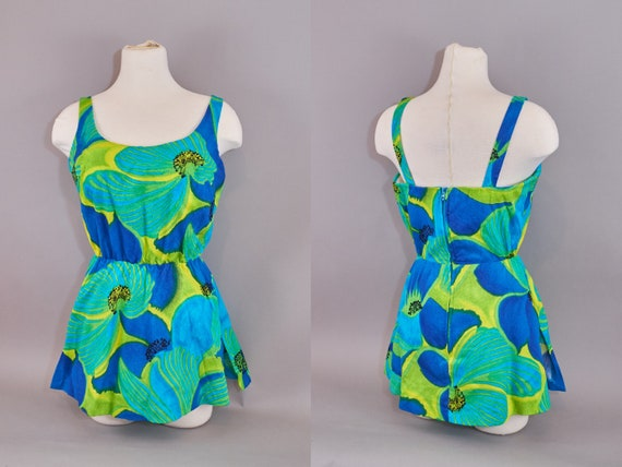 60s Skirted Bathing Suit by De Weese Blue Floral P