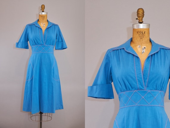 70s Peasant Dress Blue Cotton Summer Dress