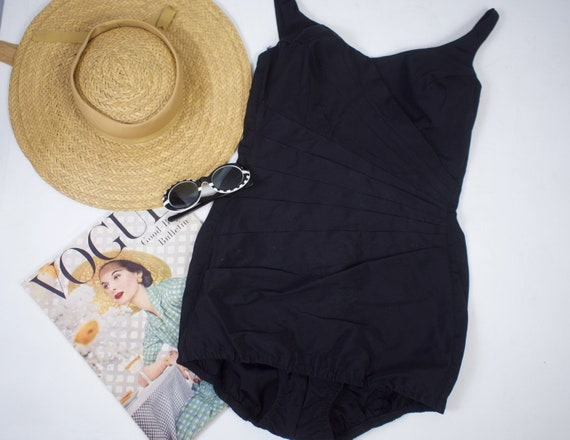 50s Pin Up Swimsuit Black Ruched Bombshell Bathing