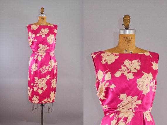 50s Silk Dress Hot Pink White Rose Floral Cocktail