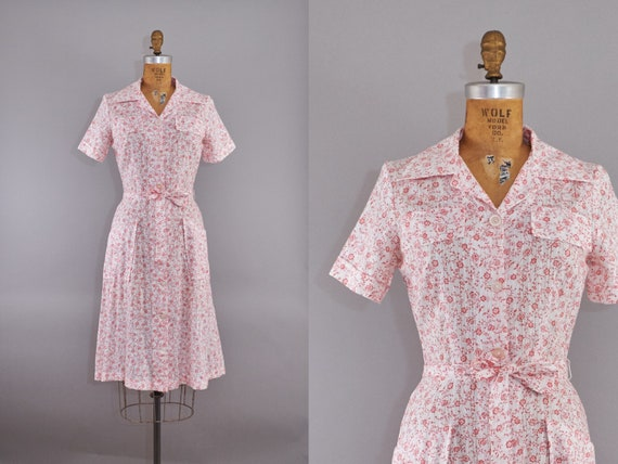 60s Dress Pretty Pink Floral Summer Day Dress with