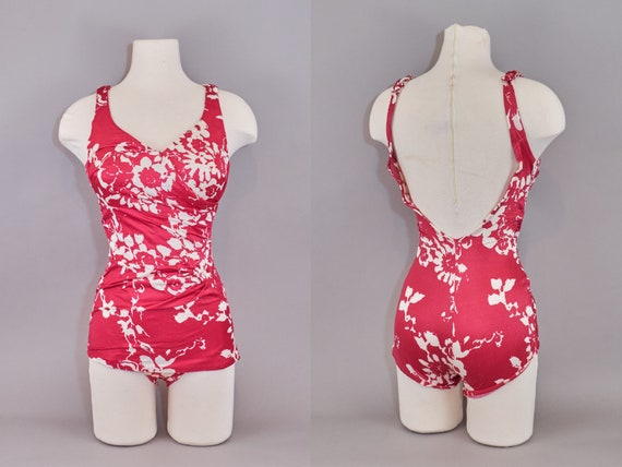 60s One Piece Ruched Bathing Suit Red Floral Swims