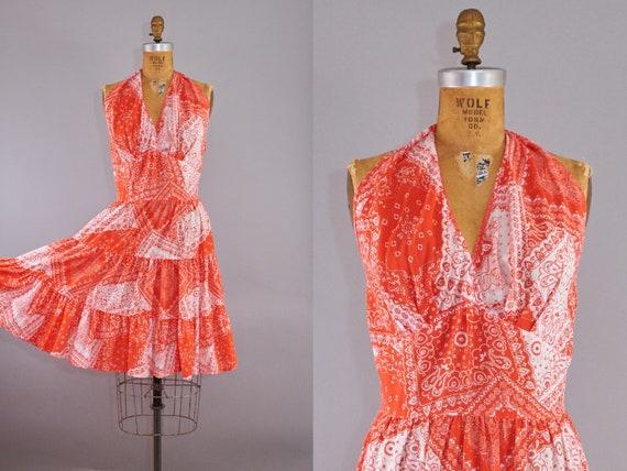60s Bandana Halter Dress Red Sundress