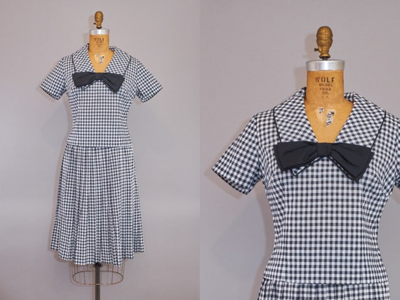 50s Gingham Skirt Blouse Dress Set Black White Che