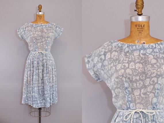50s Dress Sheer Abstract Print Gray White