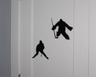 Hockey Player and Goalie  -  Wall Decal