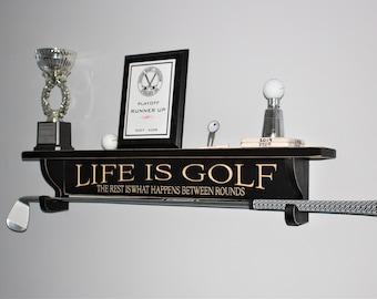 Golf Shelf w/ Curved Brackets to hold Club