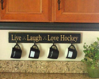 Live Laugh Love Hockey - Mug/Coat Rack