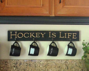 HOCKEY IS LIFE   -  Mug/coat rack
