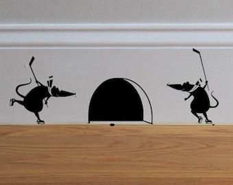 Mice Playing Hockey  -  Decal