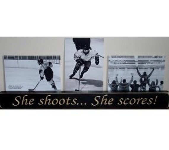 She shoots... She scores!  -  Photo Sign