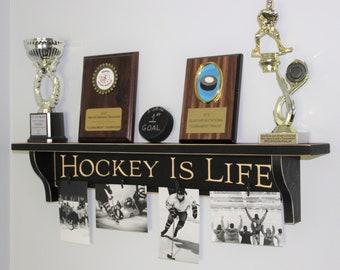 Hockey is Life - Trophy Shelf w/ Photos
