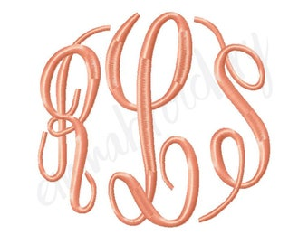 """5 Sizes Empire Monogram - 3.5"""" 4.5"""" 5.5"""" 6.5"""" and 7.5"""" - Machine Embroidery Monogram Font - Instant Download - PES JEF DST 8 File Formats"""