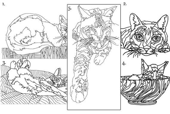 - Adult Coloring Book Cats Digital Instant Download 5 Pages Etsy