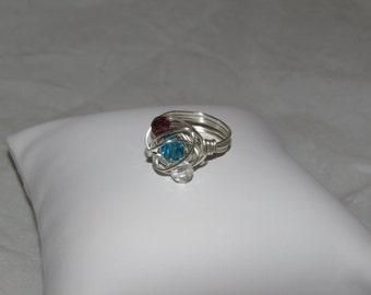 Swarvoski Crystal Wire Wrapped Ring/ Handmade/ Hand Crafted/ Boho