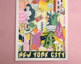 A2 NYC Silk Screen Print, New York City Wall Art