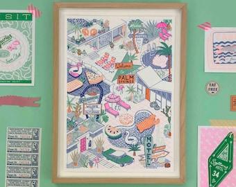 A4 Palm Springs Risograph Print, Americana Wall Art