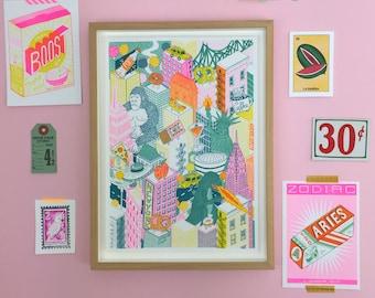 A4 New York City Risograph Print