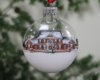 custom house ornament with landscape personalized hand painted from your photo home living christmas gift idea