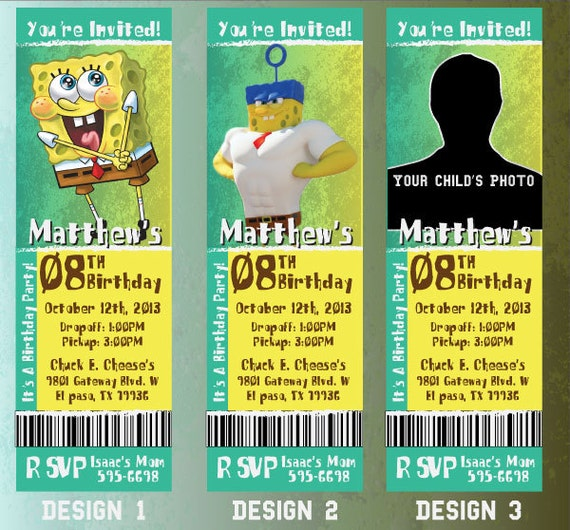 Custom Spongebob Birthday Event Invitation