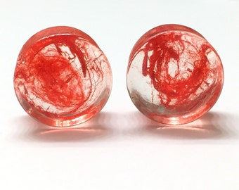"14mm (9/16"") Red Smoke Double Flared Plugs - Gauges - Earrings for Stretched Ears"