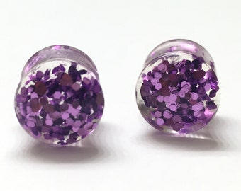 10mm (00g) Purple Glitter Plugs - Gauges - Plugs - Double Flared - Stretched Ears
