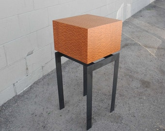 Pommele Sapele with steel legs   ONE-OF-A-KIND   Square end table/display pedestal   Modern furniture