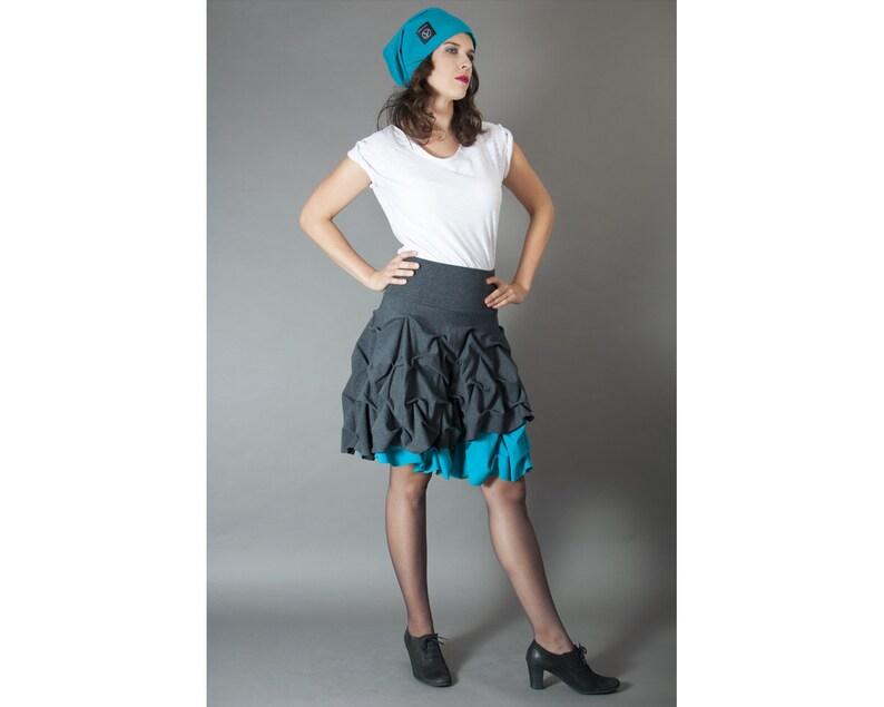 db9c71a4 Spódnica podwójnie spieniona mini damska z turkusem/szarością/amarantem