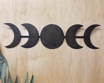 Moon phase metal wall hanging - Moon phase metal art - Minimalist moon metal art