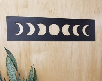 Moon Phases Wall Art, Minimalist Moon Metal Wall Art, Metal Wall Art